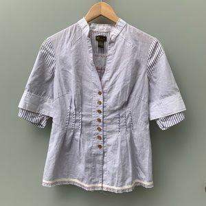Anthropologie Fei Mandarin Collar Shirt Blouse